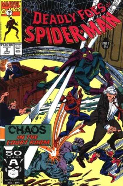 Deadly Foes of Spider-Man 2 - Deadly Foes Prart 2 Of 4 - Court Room Scene - 100 Issues - Chaos In The Courtroom - Purple Masked Villan