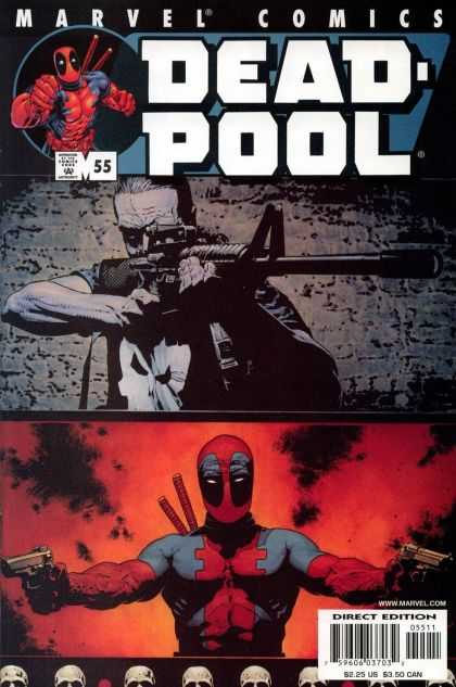 Deadpool 55 - Deadpool With Two Pistols - Punisher - M-16 Rifle - Skull Shirt - Two Swords - Tim Bradstreet