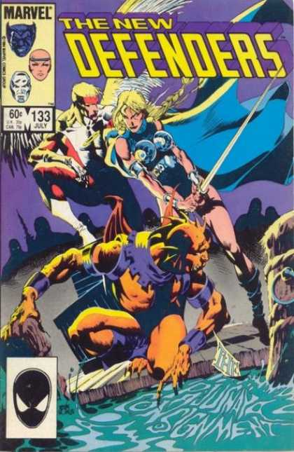 Defenders 133 - Marvel - Beast - Angel - Monster - Water - Kevin Nowlan