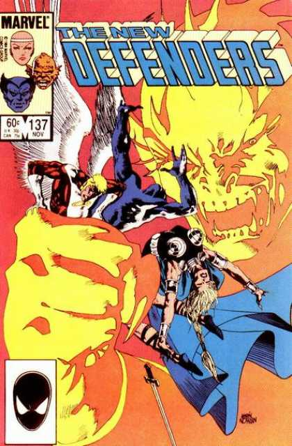 Defenders 137 - Blue Cape - Marvel Comics - White Wings - Yellow Hand - Sword - Kevin Nowlan