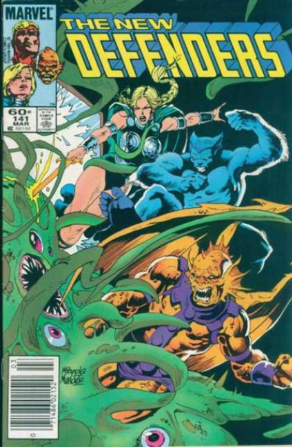 Defenders 141 - The New Defenders - Green Octopus - Sword In Head - Pink Eyes - Yellow Monster - Kevin Nowlan, Mike Mignola
