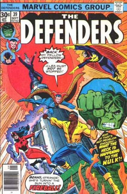 Defenders 39 - Hulk - The Incredible Hulk - Fireball - Beans - Clea
