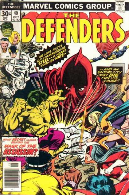 Defenders 40 - Marvel Comics Group - Secret - Approved By The Comics Code Authority - Mask Of The Assassin - Sword - Klaus Janson