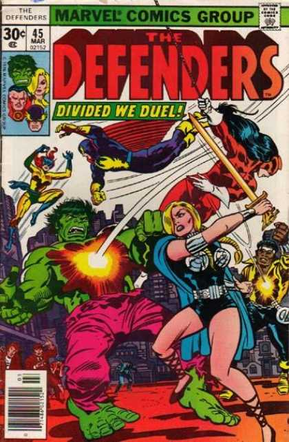 Defenders 45 - Hulk - Divided We Duel - Valkyrie - Red Rajah - Nighthawk - Jack Kirby
