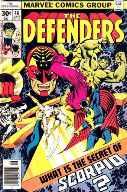 Defenders 48 - Marvel Comics - What Is Secter Of Scorpio - Hulk - Red Mask - Super Heroes - Joe Sinnott