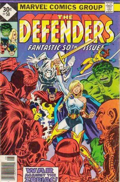 Defenders 50 - Marvel Comics Group - Fantastic 50th Issue - Hulk - Woman Knight - War Against The Zodiac