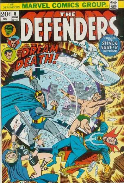 Defenders 6 - Dream Death - Silver Surfer - Glass - Broken Window - Smashing - Erik Larsen, Sal Buscema