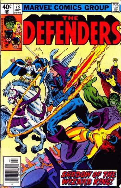 Defenders 73 - Approved By The Comics Code Authority - 73 July - Sword - Horse - Shadow Of The Wizard King