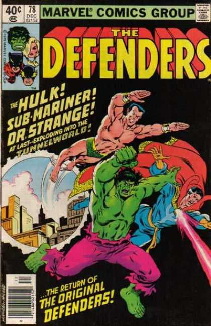 Defenders 78 - Hulk - Flying - Submariner - Dr Strange - The Return - Bob McLeod