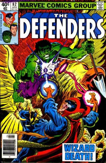 Defenders 82 - Marvel Comics Group - Approved By The Comics Code Authority - 82 Apr - Wizard Death - Sword