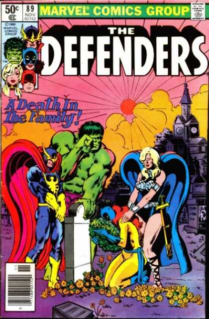 Defenders 89 - Marvel Comics - Hulk - A Death In The Family - Golden Yellow Flowers - Blue Cape