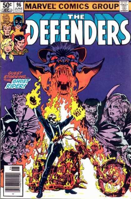 Defenders 96 - Marvel Comics - Ghost Rider - Fire - Heroes - Villans - Michael Golden