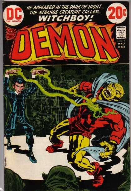 Demon 7 - Witchboy - He Appeared In The Dark Of Night - The Strange Creature Called - Green Magic - Young Boy Warlock - Denis Rodier, Jack Kirby