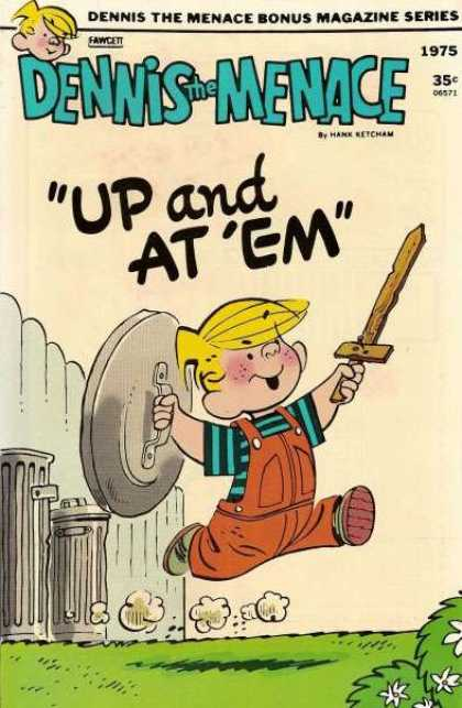 Dennis the Menace Bonus Magazine 137 - Boy - Garbage Cans - Fence - Sword - Overalls