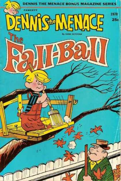 Dennis the Menace Bonus Magazine 85 - Fall-ball - Treehouse - Leaves - Mr Wilson - Broom