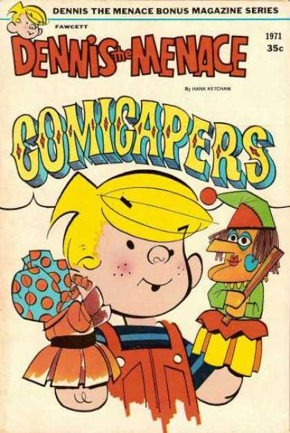 Dennis the Menace Bonus Magazine 97 - Comicapers - Blonde Hair - Puppets - Stick - Orange Coveralls