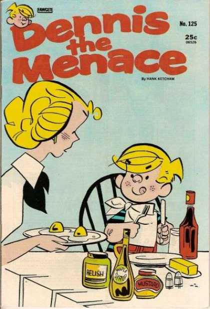 Dennis the Menace 125 - Dennis And Mrs Mitchell Eatngi - Eggs On A Plate - Issue Number125 - 25 An Issue - Hank Ketchum