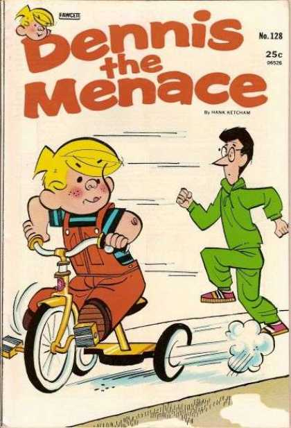 Dennis the Menace 128 - Tricycle - Yellow Hair - Green Jogging Suit - Red Overalls - Striped Tee Shirt