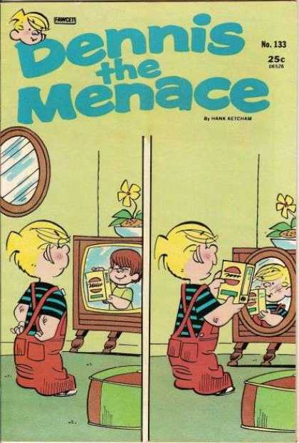 Dennis the Menace 133 - Mirrow - Television Set - Red Overalls - Striped Shirt - Yellow Flowering Plant
