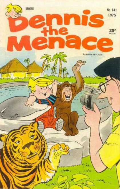 Dennis the Menace 141 - 1975 - 25 Cents - Dolphin - Ape - Tiger