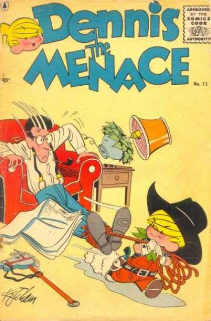 Dennis the Menace 15 - Red Chair - Lamp - Table - Father - Rope