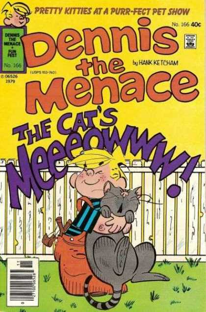 Dennis the Menace 166 - Fence - Boy - Cat - Grass - Yellow