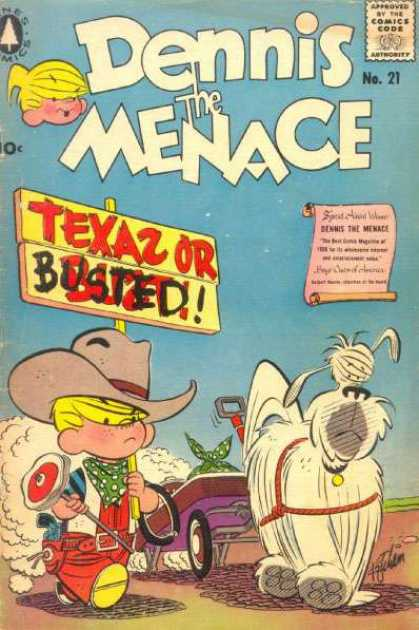 Dennis the Menace 21 - Boy - Yellow Hair - Dog - Texas Or Busted - Cowboy