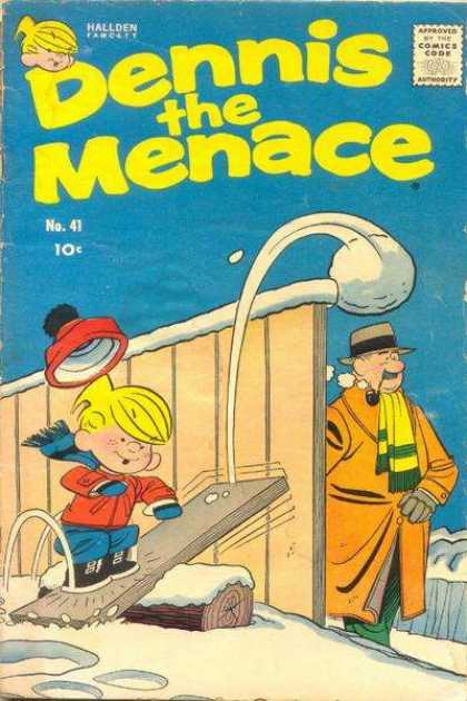 Dennis the Menace 41 - Mr Wilson - Snowball - Pipe - Scarf - Fence