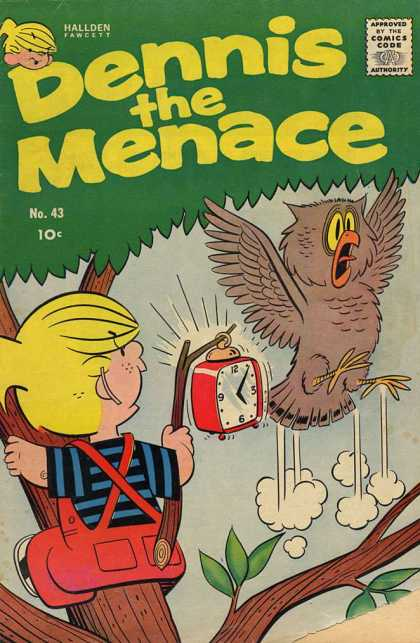 Dennis the Menace 43 - Owl - Alarm Clock - Scared - Tree - Blonde Boy