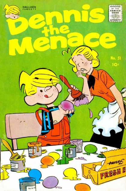 Dennis the Menace 51 - Hallden - Approved By The Comics Code - Boy - Woman - Paint