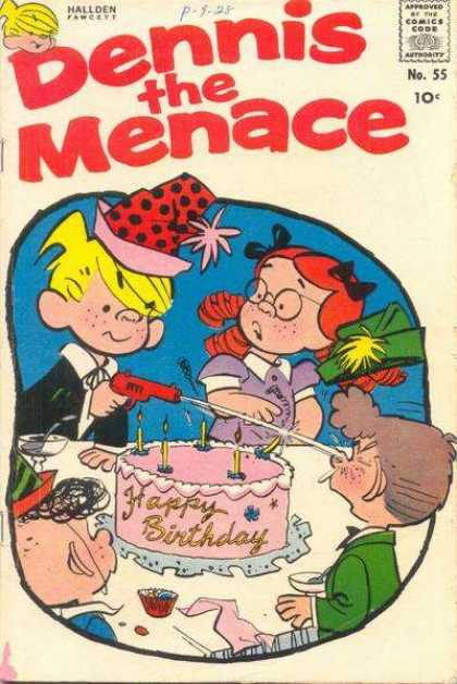 Dennis the Menace 55 - Happy Birthday - Water Gun - Cake - Candles - Water In Eye