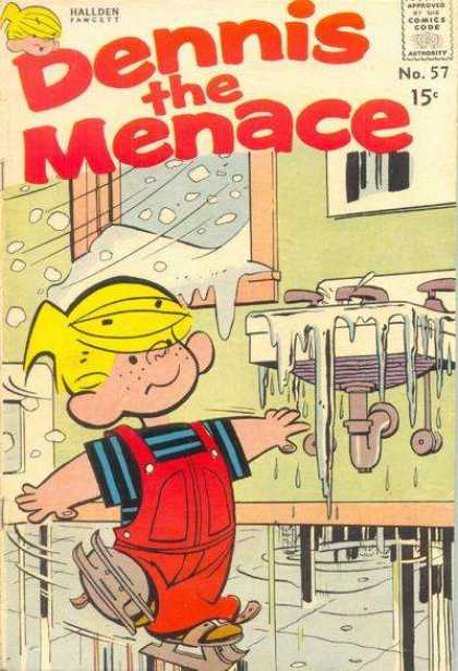 Dennis the Menace 57 - Hallden Fawcett - Approved By The Comics Code - Ice - Window - Boy