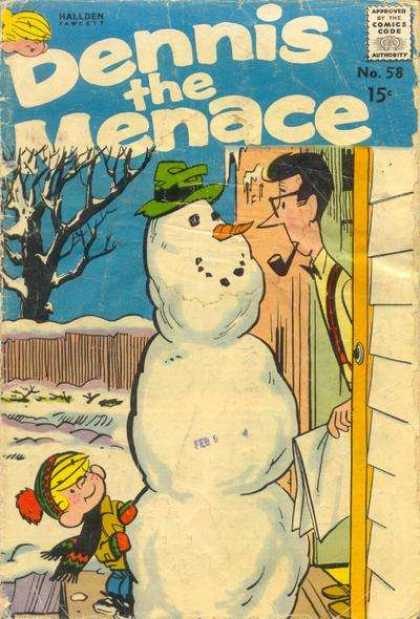 Dennis the Menace 58 - Snow - Snowman - Front Yard - Door - Pipe