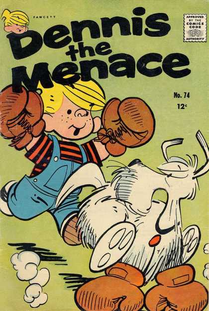 Dennis the Menace 74 - Boxing Gloves - Blonde Hair - White Dog - Chasing - Blue Overalls