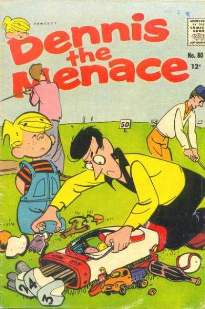 Dennis the Menace 80 - Boy - Approved By The Comics Code - Fawcett - Grass - Toy