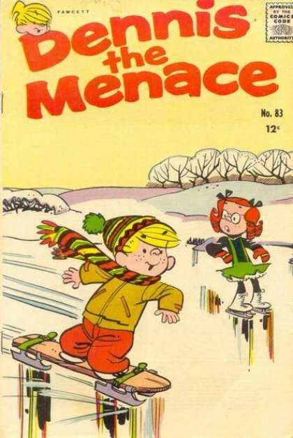 Dennis the Menace 83 - Ice Skate - Skate Board - Scarf - Hat - Margaret