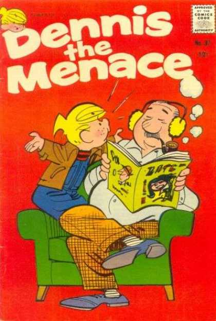 Dennis the Menace 87 - Yellow Hair - Green Chair - Yellow Ear Muffs - Blue Overalls - Pipe