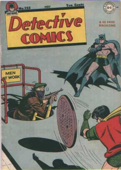 Detective Comics 123 - Men At Work - Manhole - Batman And Robin - Gun - Balaclava