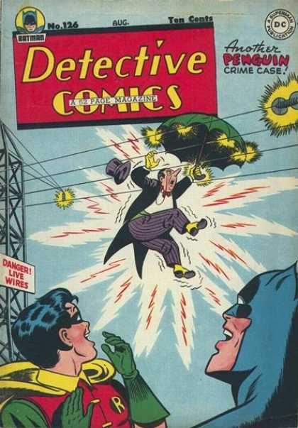 Detective Comics 126 - Penguin - Umbrella - Electrified - Flying Hat - Live Wire