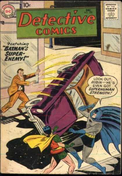 Detective Comics 250 - Batman - Robin - Car - Superhuman Strength - Super-enemy - Sheldon Moldoff