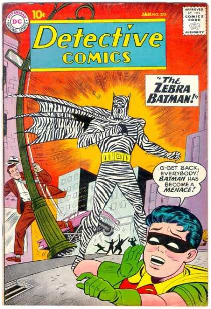 Detective Comics 275 - Zebra Batman - Robin - Menace - Wrecked Street Light - Frightened People - Sheldon Moldoff