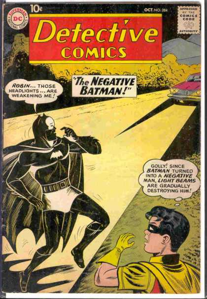 Detective Comics 284 - Robin - Detective Comics - The Negative Batman - Light Beams - Headlights - Sheldon Moldoff