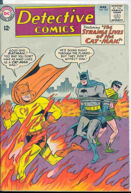 Detective Comics 325 - Batman - Robin - Flames - Cat-man - Fire
