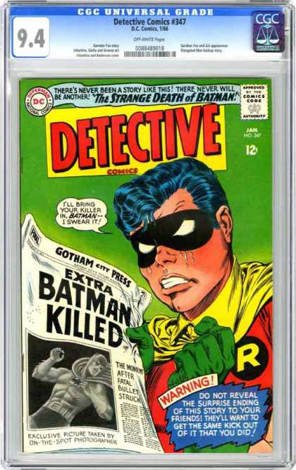 Detective Comics 347 - Robin - Newspaper - Batman - The Strange Death Of Batman - Weeping - Carmine Infantino