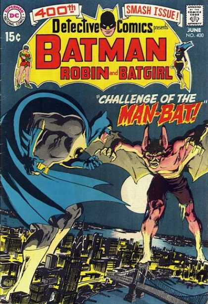 Detective Comics 400 - Batman - Man-bat - Moon - Buildings - River - Neal Adams