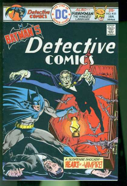 Detective Comics 455 - Batman - Spooky - Heart Of A Vampire - A Suspense Shocker - Hawkman The Winged Lawman - Mike Grell