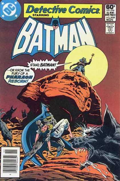 Detective Comics 508 - Lion Head - Yellow Moon - Man On Statue - Batman Holding Girl - Dogs - Jim Aparo