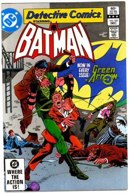 Detective Comics 521 - Batman - Green Arrow - Dc Comics - Green Arrow Fights - Villains Getting It From Green Arrow - Jim Aparo