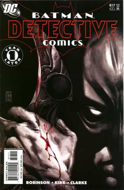 Detective Comics 817 - Batman - 1 Year Later - The Return - Batman With Blood - Half Of Batmans Face - Simone Bianchi