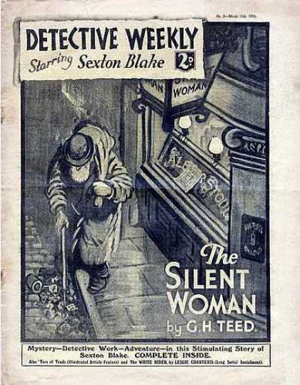 Detective Weekly 3 - Starring Sexton Blake - The Silent Woman - By Gh Teed - Man Walking - Cane